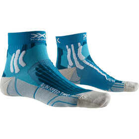 X-Socks Run Speed Two Calcetines Running Hombre, teal blue/pearl grey